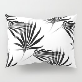 Palmetto Fronds Leaf Pattern Black and White Pillow Sham