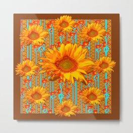 Coffee Brown Sunflower Pattern Orange & Turquoise Metal Print