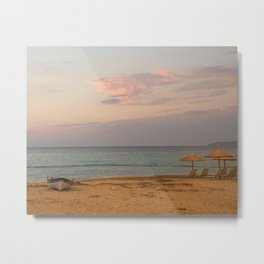 Sunset at the Beach in Greece Metal Print
