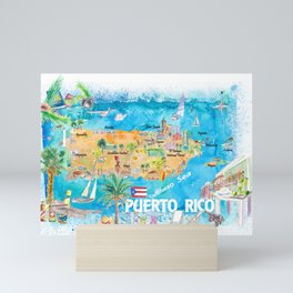 Puerto Rico Islands Illustrated Travel Map with Roads and Highlights Mini Art Print