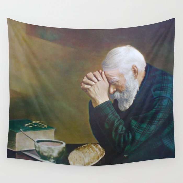 Eric Enstrom Grace Man Praying Over Bread Wall Tapestry