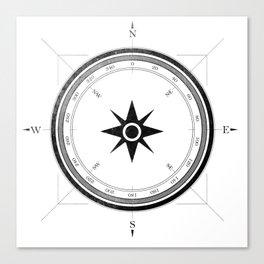 Black Compass on White Canvas Print