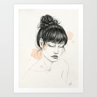 peony Art Prints featuring Peony by Nayla Smith