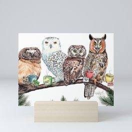 Tea owls , funny owl tea time painting by Holly Simental Mini Art Print