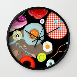 Floral Black Meadow London Wall Clock