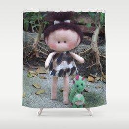 Jurassic Girl Doll Shower Curtain