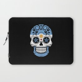 Sugar Skull with Roses and Flag of Argentina Laptop Sleeve
