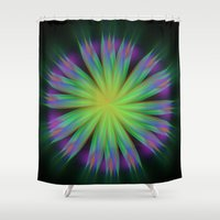 sonic Shower Curtains featuring Sonic Bloom by Jenn Burden