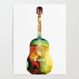Acoustic Guitar - Colorful Abstract Musical Instrument Poster