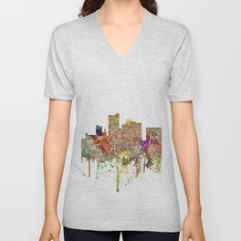 Lubbock, Texas Skyline - Faded Glory Unisex V-Neck