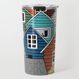 Colorful houses in Norway Travel Mug