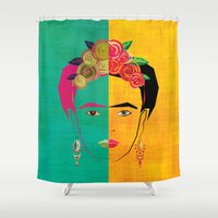 frida Shower Curtains featuring Frida by Lucky Skye