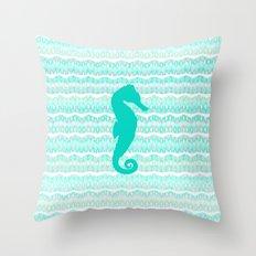 Mint Seahorse Throw Pillow