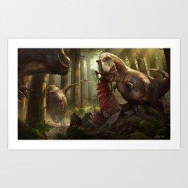 T Rex Feeding Scene Art Print