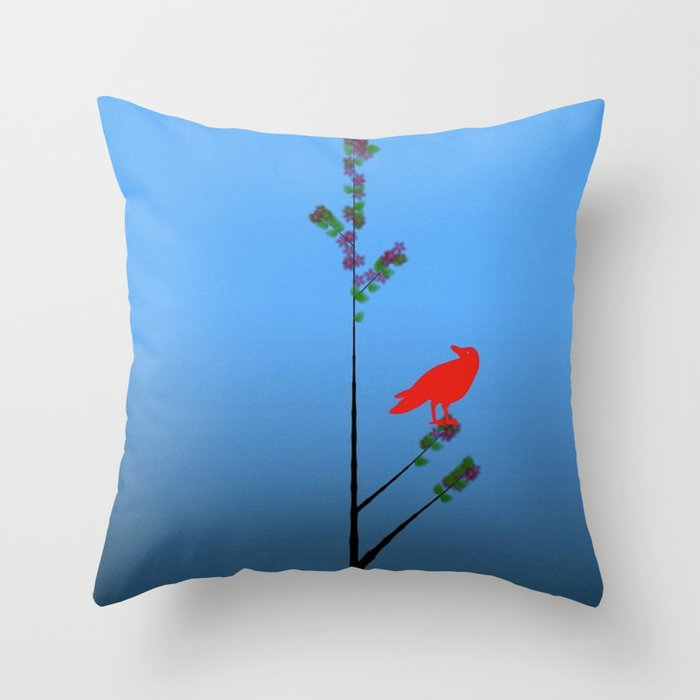 Red Bird Throw Pillow : Red Bird ( Tree series) Throw Pillow by laurasphoto Society6