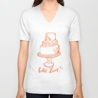 cake V-neck T-shirts featuring Cake by mariaVcreative