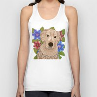 golden retriever Tank Tops featuring Golden Retriever by ArtLovePassion