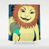 drunk Shower Curtains featuring Drunk Lion by Lena Pflüger Illustration