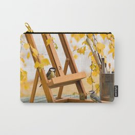 Birds and Artist Painting Tools Autumn Scene #decor #society6 #buyart Carry-All Pouch