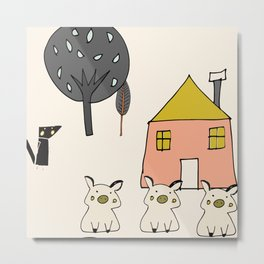 Tree Little Pigs Metal Print
