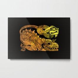 Golden two-headed dragon Metal Print