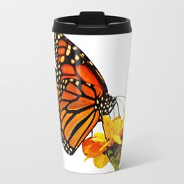 Monarch Butterfly on Zinnia Flower Travel Mug
