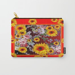 Chinese Red-Yellow Sunflowers Rose Garden Pattrn Carry-All Pouch