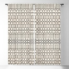 N79 - Farmhouse B&W Traditional Boho Moroccan Style Design. Blackout Curtain