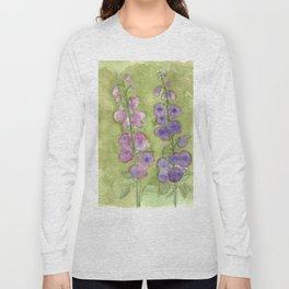 Hollyhock Foxglove Watercolor Muted Tones Long Sleeve T-shirt