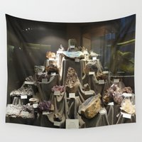 minerals Wall Tapestries featuring Don't Touch the Minerals by kindercore