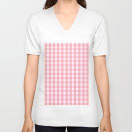 Pink Gingham Unisex V-Neck