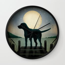 Black Dog Labrador Lake Dock Moon Cottage Cabin Wall Clock