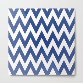 Team Spirit Chevron Blue and White Metal Print