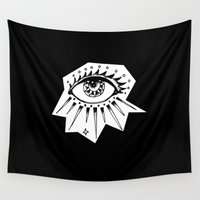 all seeing eye Wall Tapestries featuring All Seeing by Lovedart