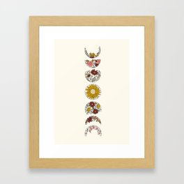 Floral Phases of the Moon Framed Art Print