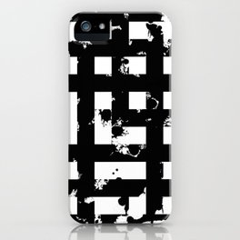 Splatter Hatch - Black and white, abstract hatched pattern iPhone Case