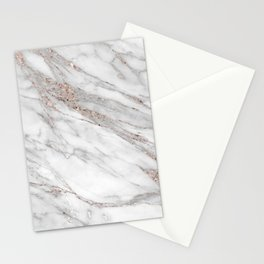 Pink Rose Gold Blush Metallic Glitter Foil on Gray Marble Stationery Cards