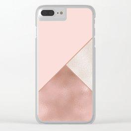 Luxury Glamorous Rose Gold Metallic Glitter Clear iPhone Case