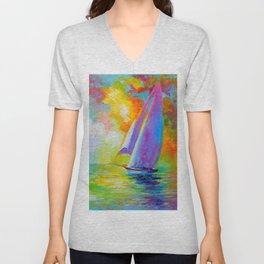 Sailboat in the sea Unisex V-Neck