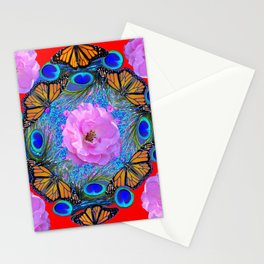 MONARCH BUTTERFLIES & ROSES  PEACOCK ART & RED ABSTRACT Stationery Cards
