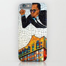 NYC Subway 125th Street Public Mural Black Heroes - Malcom X Photograph iPhone Case
