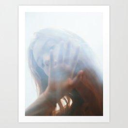 Woman through glass Art Print
