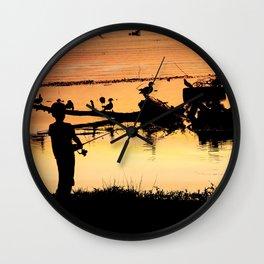 Little Boy Fishing Wall Clock