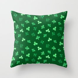 Clover Leaves Pattern on Green Throw Pillow