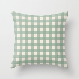 Buffalo Checks Plaid in Sage Green on Cream Throw Pillow