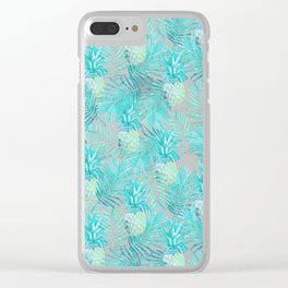 Turquoise Palm Leaves and Pineapples on Pink Clear iPhone Case