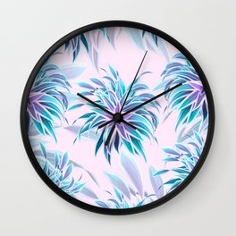 Pink & Aqua Plant Pattern on Pale Pink Wall Clock