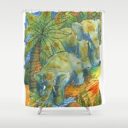 elephants in africa Shower Curtain