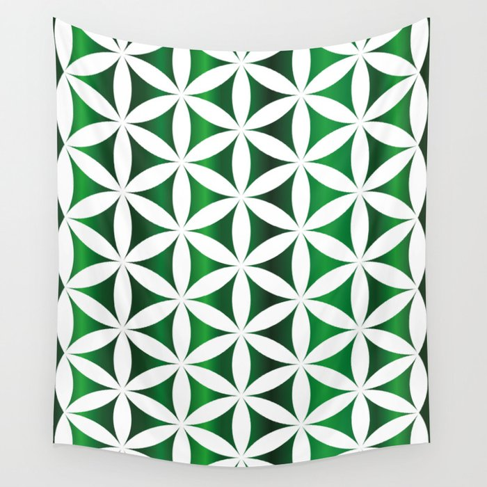 Green seed of life pattern Wall Tapestry by veronikalimonov