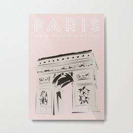 Paris Arc de Triomphe de l'Étoile Travel Poster Metal Print